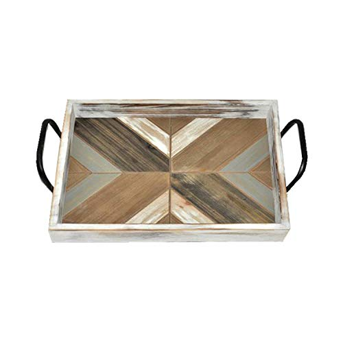 Paris Loft Chevron Rustic Wooden Serving Tray with Metal Handles, Breakfast Tray for Carrying Drinks Snacks,Letter Mail for Coffee or End Tables, Antique Distressed Look 18.9x13x4.5'' (Wooden With Tray Handles Serving Metal)