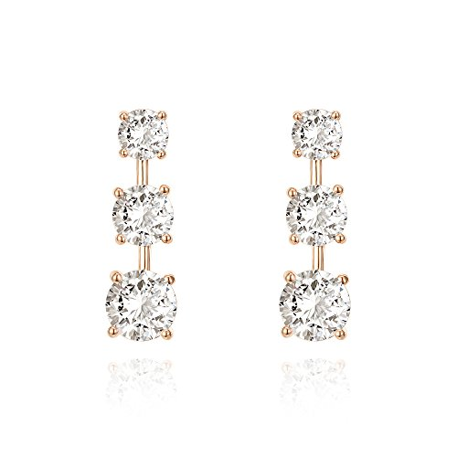 PAVOI 14k Rose Gold Plated Sterling Silver Post Cubic Zirconia Stud Earrings | Wedding Earrings | Drop Earrings for Women ()
