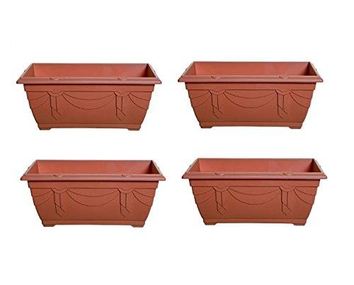 4 x Small Plastic Venetian Window Box Trough Planter Plant Pot 40cm Terracotta Colour Whitefurze
