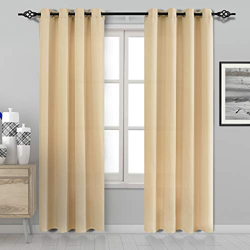 DWCN Curtains for Living Room High Grade Faux Silk Pale Yellow Privacy Curtain Panels Grommet Window Curtains 52 x 84 inches Long, Set of 2 (And Pale Curtains Yellow Drapes)