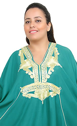 Moroccan Caftan Women Plus size Hand Made Caftan with Embroidery XXL to 4XL Green by Moroccan Caftans (Image #2)