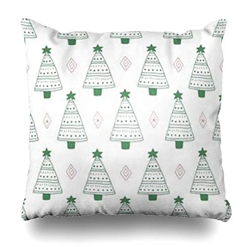 Tobesonne Throw Pillow Covers Crystal Green Christmas Patterns Tree Crystals Wildlife Celebration Childhood December Drawn Forest Home Decor Pillowcases Square 16 x 16 Inches Zippered Cushion Cases -
