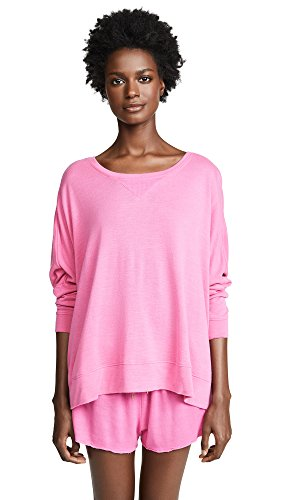 (Honeydew Intimates Women's Starlight French Terry Lounge Sweatshirt, Pink Watermelon, Small)