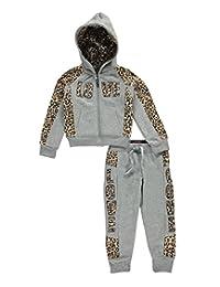 "Thrill Little Girls' ""Love Leopard"" 2-Piece Fleece Sweatsuit"