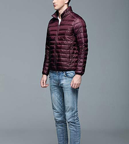 Doudoune Zipper Blouson Manteaux Montant Homme Rouge Longues Grande Col Taille Légère À Manches Vin 8SR80qw