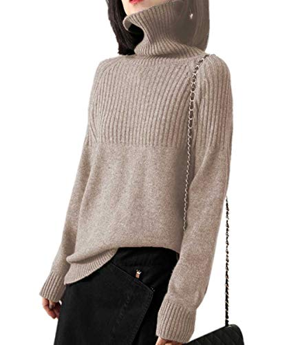 Cashmere Sweaters Women Loose Jumpers Wool Knit Split Thick Turtleneck Pullover Winter (L/US Size 10-14, Camel)