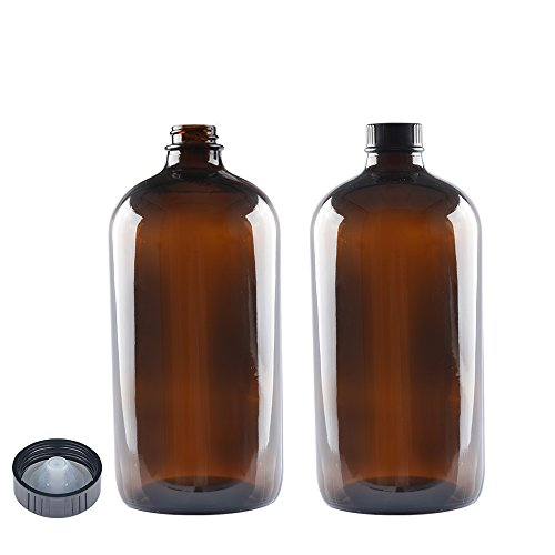 2 Pack,32 oz,Amber Glass Bottle Bottles with Black PolyCone Phenolic Lid.Perfect Design for Secondary Fermentation,Storing Kombucha,Brewing and Juicing.