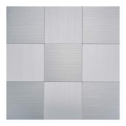 Art3d Peel and Stick Metal Backsplash Tile, Brushed Stainless Steel in Square, Pack of 10 Tiles 12