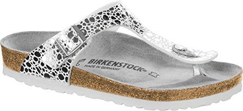 Birkenstock Gizeh Birko-Flor Regular Metallic Stones Silver Size EU 42 - US L11 - 1st Stones