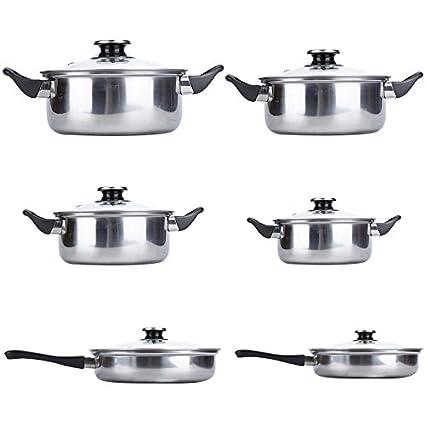 Truefans 12 Piezas de Cocina Olla, Acero Inoxidable ollas de Cocina ...