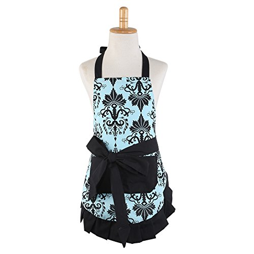 Tie Apron (Cotton Fabric Women's Apron with 2 Pockets-Extra Long Ties, Home Baking or Kitchen Cooking, Graceful and Flirty, Blue)