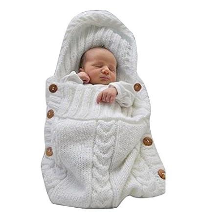 Saco de dormir para bebés, de DDOQ, manta tejida, para sillita, blanco
