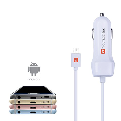 Micro USB Car Charger, VoltronTek Ultra Fast Travel Adapter with Extra Length Built-in Micro USB connector for Samsung Galaxy S7 S6 S5 S4 Galaxy Tab N