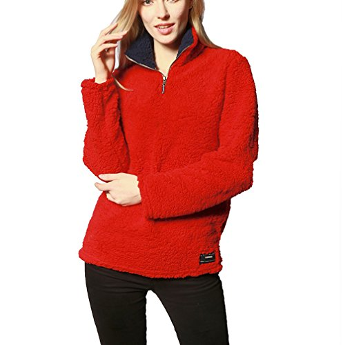 Red Fleece Pullover Jacket - 1