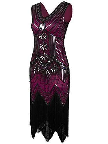 Vijiv Women 1920s Gastby Sequin Art Nouveau Embellished Fringed Flapper Dress Rose Pink X-Small -