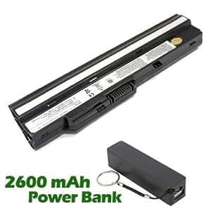 Battpit Bateria de repuesto para portátiles MSI TX2-RTL8187SE (4400 mah) con 2600mAh Banco de energía / batería externa (negro) para Smartphone