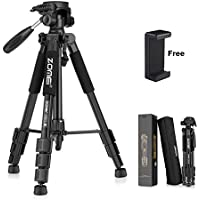 ZOMEI 55 Aluminum Camera Tripod,with Bag & Phone Holder Mount,Professional Lightweight Travel Portable Folding Design,3-Way Pan Head SLR Camera Tripods for Canon,Nikon,Sony,Samsung,Olympus (Black)