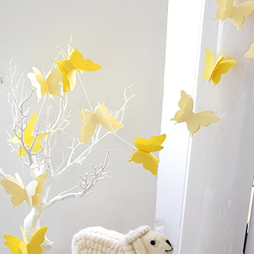 ADLKGG Butterfly Hanging Garland Party Decoration, 4 Pack 3D paper Butterfly Bunting Banner for Wedding Baby Shower Birthday Home Decor, - Butterfly Decorations Wall Yellow