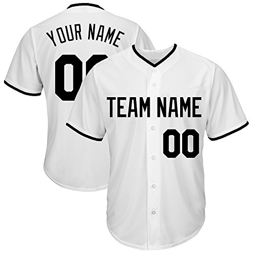 Custom Men's White Mesh Baseball Jersey with Embroidered Team Name Player Name and Numbers,Black Size (Custom Embroidered Jersey)
