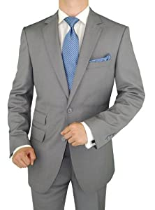 B009UOAM5A Gino Valentino Men's 2 Button Ticket Pocket Suit Faint Herringbone Light Gray (42 Regular)