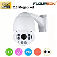 FLOUREON 1080P HD Doom IP Camera 10X ZOOM CCTV Security IR-CUT PTZ 4.9-49mm Outdoor Waterproof Infrared Night Vision P2P Horizontal 360 ° View Angle Motion Detection (10X ZOOM)