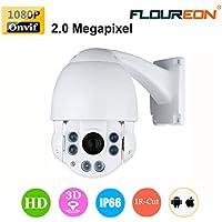FLOUREON 1080P HD Doom IP Camera 10X ZOOM CCTV Security IR-CUT PTZ 4.9-49mm Outdoor Waterproof Infrared Night Vision P2P Horizontal 360 ° View Angle Motion Detection (10X ZOOM)