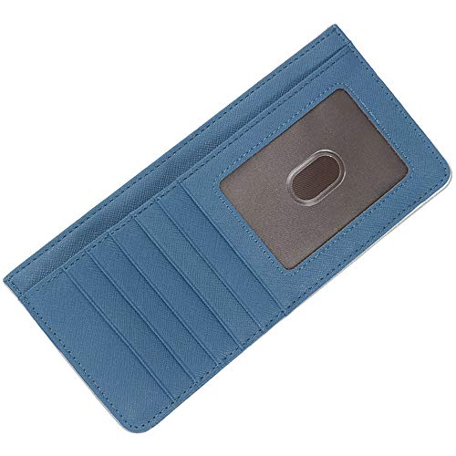 - Women's Credit Card Wallet Slim Leather Long Wallet with Zipper Pocket for Cash, Coin, Receipt, ID Card (Blue Wallet)
