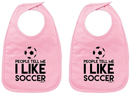 Funny Toddler Clothes People Tell Me I Like Soccer Baby Bib Pink 2 - Baby Mobile Football