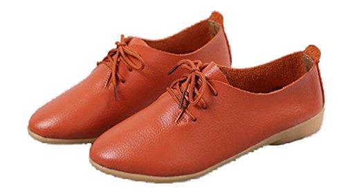 Dress Heel Flat Orange WenHong Women's Classic Shoe Low Oxford Lace Up CxO4XT8wq