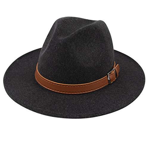 (Lanzom Womens Classic Wide Brim Floppy Panama Hat Belt Buckle Wool Fedora Hat (One Size, Z Belt-Dark Grey))