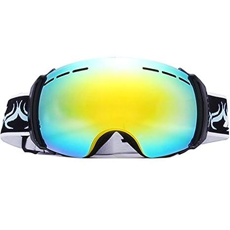 Marca Amplia visión anti-niebla profesional UV400 de esquí y snowboard gafas polarizadas para hombre gafas de espejo (Compatible normal), ...