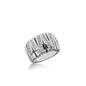 Platinum White Gold V shaped Diamond Anniversary Band (1.75ctw) - Size 4.25