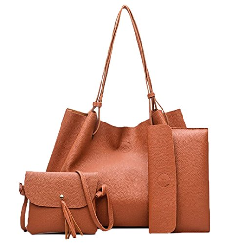 Bag Bag Fcostume Brown Four Messenger Handbags Handbag Shoulder Women Leather Sets Fashion aZxBBq