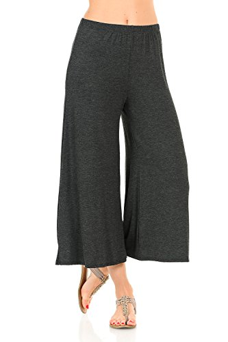 Woman Knit Dressing - iconic luxe Women's Elastic Waist Jersey Culottes Medium Charcoal