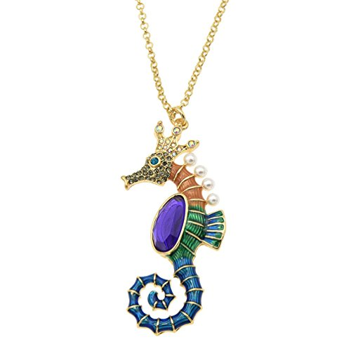 Pendent Horse (Enamel Pearl Amethyst Seahorse Charm Floating Sweater Pendent Long Necklace Gift)