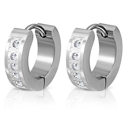 BlackAmazement à lot de 2 paires de boucles d'oreilles créoles en acier inoxydable argenté élégant serti de cristaux en zircon