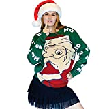 Digital Dudz Peeking Santa Ugly Christmas Sweater, Green, Medium