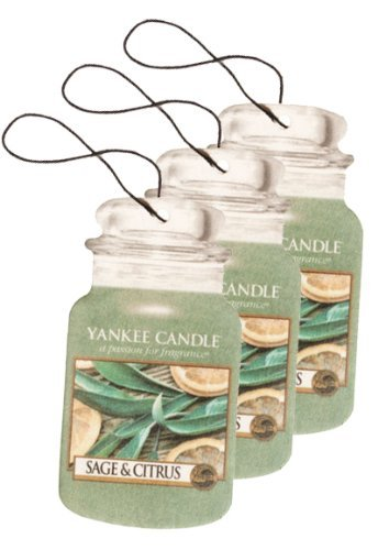 Yankee Candle Paper Car Jar Hanging Air Freshener Sage & Citrus Scent (Pack of 3)