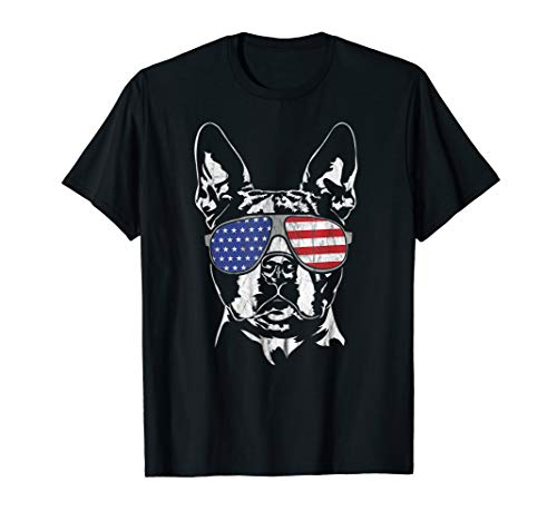 Funny Proud Boston Terrier America Flag T-Shirt dog gift