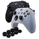 YoRHa Silicone Cover Skin Case for Microsoft Xbox One X & Xbox One S controller x 2(black&White) With PRO thumb grips x 8 Review