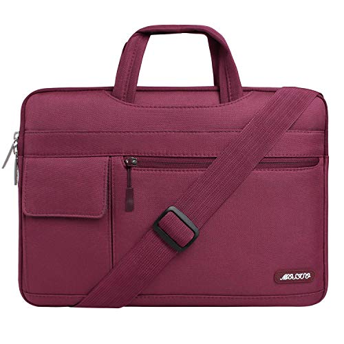MOSISO Laptop Shoulder Bag Compatible with 2019 MacBook Pro 16 inch A2141, 15 15.4 15.6 inch Dell Lenovo HP Asus Acer Samsung Sony Chromebook, Polyester Flapover Briefcase Sleeve Case, Wine Red