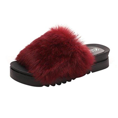 spessore inferiore piana Faux autunno Vovotrade inverno Fluffy piatta slider Womens Rosso Pelliccia 6tFCUf