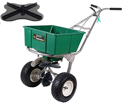 Lesco 101186 High Wheel Walk-Behind Fertilizer Spreader with Ultra Plus Impeller (Bundle, 2 Items)