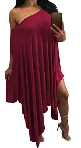 A Shouler Vino Dal Domple Rosso Uno Solido Pipistrello Manica Pieghe Irregolare Donne Randello qpOPXEP