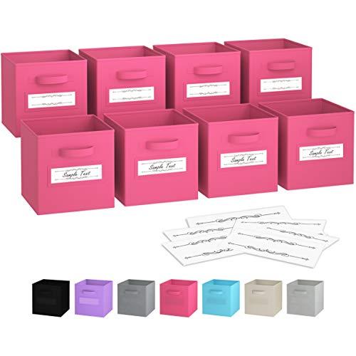 Royexe - Storage Cubes - (Set of 8) Storage Baskets | Features Dual Handles & 10 Label Window Cards | Cube Storage Bins | Foldable Fabric Closet Shelf Organizer | Drawer Organizers and Storage (Pink)