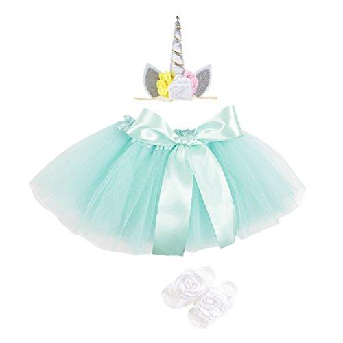 TENDYCOCO Falda de tutú con traje de diadema de cuerno mítico con conjuntos para niños niñas (verde)