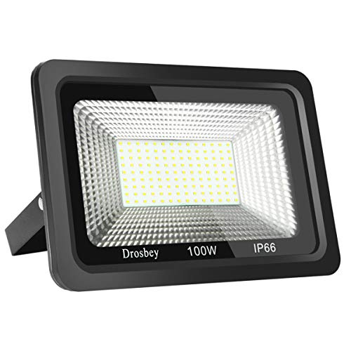 Drosbey 100W LED Flood Light, Outdoor Work Light, IP66 Waterproof, Super Bright 9000LM, 5000K Daylight White, 500W Halogen Bulb Equivalent, Spotlight for Yard, Shop, Garage, Garden, Lawn