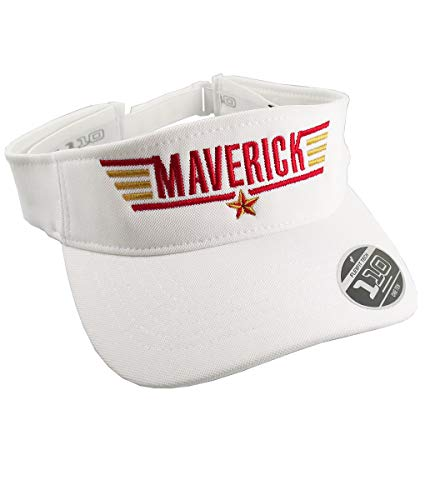 Maverick Top Gun Typographic Calling Sign Header Embroidery Design on an Adjustable White Yupoong Flexfit Visor Cap Summer Hat ()