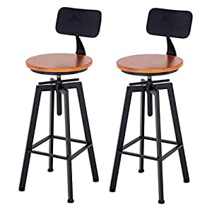 Pleasing Amazon Com Adjustable Swivel Bar Stools Wood Bar Stool Ocoug Best Dining Table And Chair Ideas Images Ocougorg