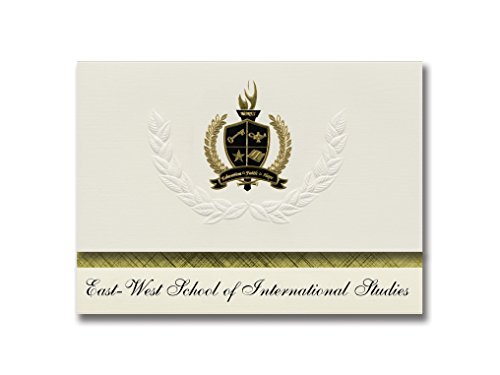 Signature Announcements East-West School of International Studies (Flushing, NY) Graduation Announcements, Presidential Basic Pack 25 with Gold & Black Metallic Foil - Ny Image Flushing